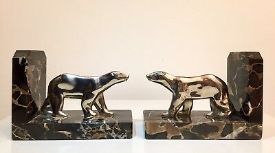 Art Deco Figural Bookends - Silver plated Bronze Polar Bears