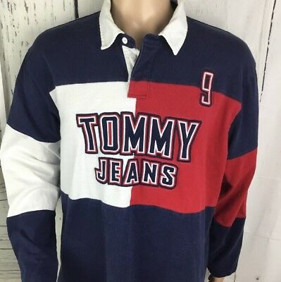 bca00f03e Vintage Tommy Hilfiger Polo Shirt 90's Tommy Jeans Flag Color Block Spell  Out XL