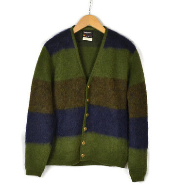 Vtg TOWNCRAFT 50's Mohair Striped Cardigan Sweater Size L Men's NICE!!!