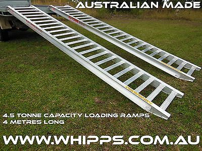 4.5 Tonne Capacity Machinery Loading Ramps 4 Metres long x 500mm track width