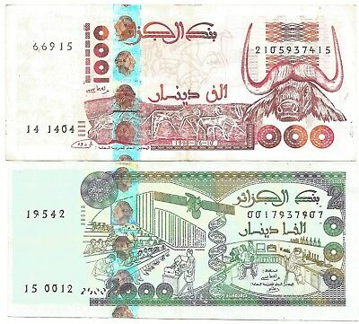 Algeria  North Africa Lot of 2 Banknotes 1000 & 2000 Dinars