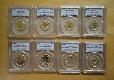 Group of eight PCGS Graded Great Britain 1 and 2 pound  Coins! Free ship