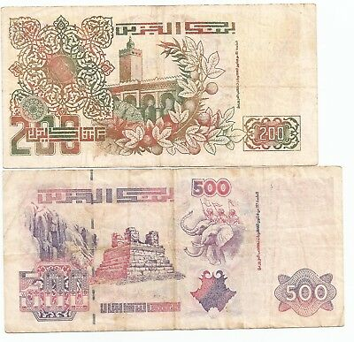 Algeria  North Africa Lot of 2 Banknotes 200 & 500 Dinars. Hard to find.