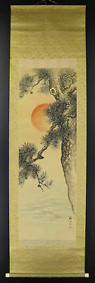 "JAPANESE HANGING SCROLL ART Painting ""Pinetree and Rising Sun""  #E9851"