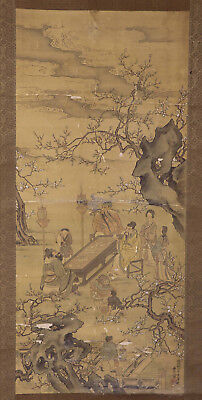 "JAPANESE HANGING SCROLL ART Painting ""Chinese wisemen"" Asian antique  #E9846"