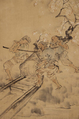 "JAPANESE HANGING SCROLL ART Painting ""Carrying the Cherry tree""   #E9841"