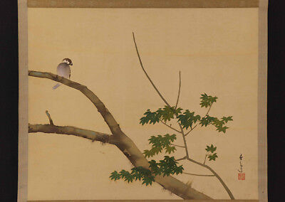 "JAPANESE HANGING SCROLL ART Painting ""Sparrow"" Asian antique  #E9847"