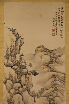 JAPANESE HANGING SCROLL ART Painting Scenery Sansui Landscape  #E9848
