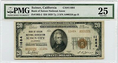 1929 $20 National Currency Bank of Suisun National Assoc., California PMG VF 25