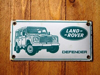 "LAND ROVER DEFENDER PORCELAIN SIGN ~7-3/4"" x 3-7/8"" JEEP OIL GAS ADVERTISING CAR"