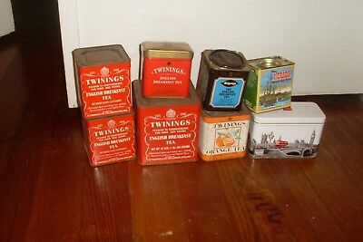 Lot Of 8 Vintage Tea Tins -Country Kitchen Display -Prop
