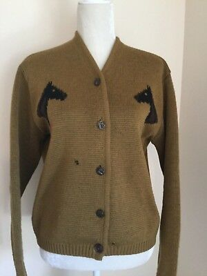 Vintage Sweater A CALDWELL CANADA Large Horse Gold Wool Western Cardigan