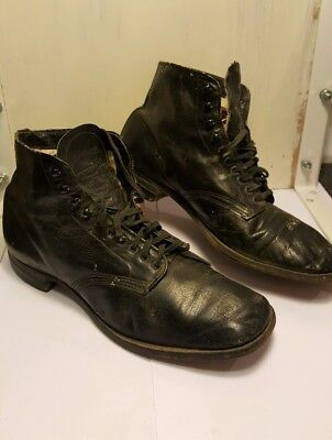 Vtg 1920s BROOKS Brothers? Black Leather Gatsby Boots Shoes 8-9? antique ankle