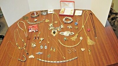 Large Lot Of 43 Pcs. Of Vintage Necklaces Pins Earrings Etc. From A Local Estate