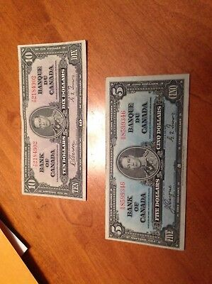1937 Bank of Canada 5 and 10 dollar notes....very nice....