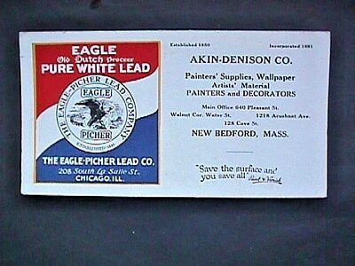 Akin Dennison Eagle White Lead New Bedford MA Advertising Blotter Collectible