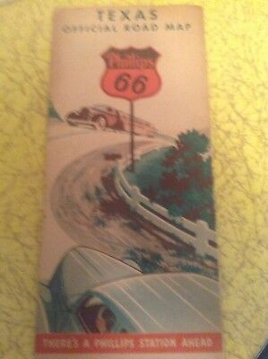 Vintage Phillips 66 Texas Offical Road Map