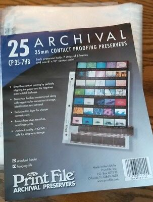 20 Archival Sheets for 35MM contact proofing preservers, CP 35-7HB, Print File