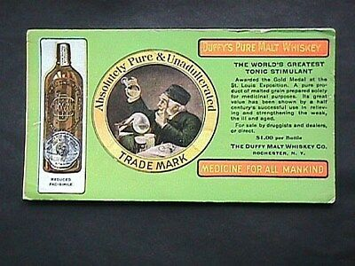 Duffy's Pure Malt Whiskey Advertising Blotter Collectible