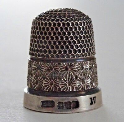 Circa 1930s HENRY GRIFFITH & SONS Sterling Silver thimble Birmingham 2 bands