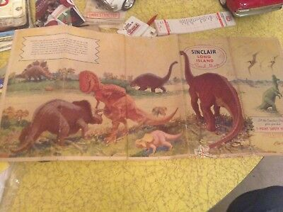 Vintage Long Island Sinclair Road Map.   Dinosaurs
