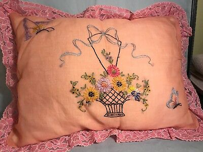 Vintage Pink Organdy Embroidered and Lace Boudoir Pillow - Excellent Condition