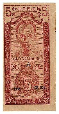 Vintage 1947 Vietnam 5 Dong Banknote-A Series-Very Nice! Free Ship!
