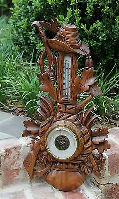 Antique French Carved Oak BLACK FOREST Barometer Thermometer HUNT Rifles Guns