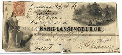 1868 Lansingburgh New York, Bank Check for $45. 2c US Revenue Stamp, Top, Left
