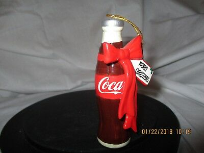 Coca-Cola Collectible Ornament Ceramic Bottle with Red Ribbon