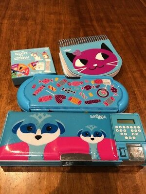 Smiggle Pencil Case And Notebook Blue