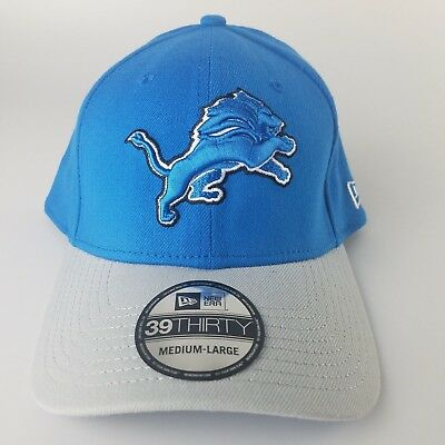 finest selection 4f4de 4932a Detroit Lions New Era 39Thirty Flex Fit Baseball Hat Medium - Large Blue  Silver
