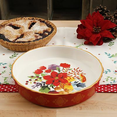 The Pioneer Woman Bakeware 10-Inch Pie Pan Baking Plate Dish Winter Bouquet New