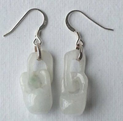 Pair of Vintage Chinese Hand Carved Jade Earrings circa 1960s, #2