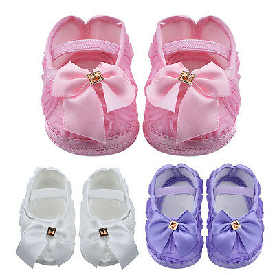 Toddler Baby Shoes Newborn Girls Soled Princess Crib Shoes Prewalker 0-12M XR