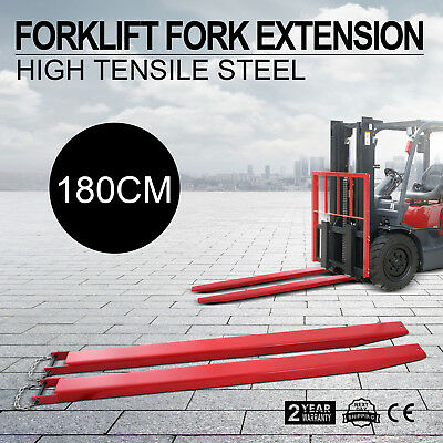Forklift Pallet Fork Extensions Pair Slide Clamp Steel Construction Lift Truck