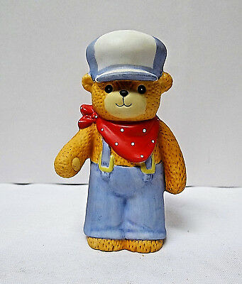 Lucy & Me Teddy Bear Boy Blue Overalls Cap Red Bandana 1984