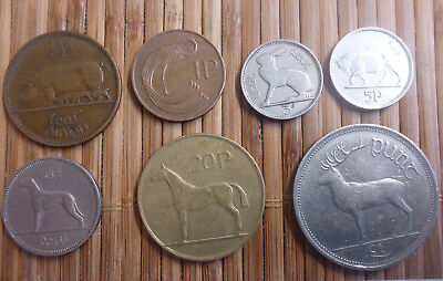 Ireland - 3, 5, 6, 20 Pence, One Pound, Half & One Penny - Lot Of 7 Coins