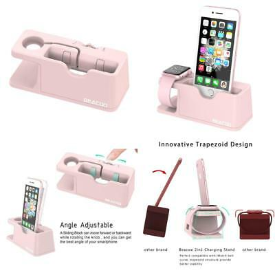 Charging Dock Stand Bracket For Apple Watch iWatch iPhone 7 Charger Holder Pink