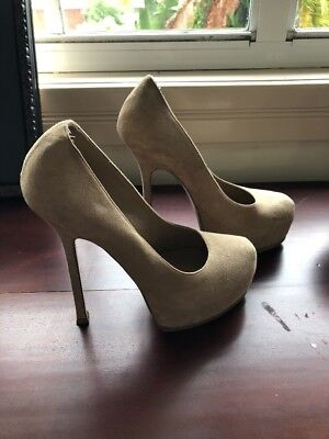 YSL Tribute Two Tribtoo Suede Leather Pump, Beige, Worn 37.5