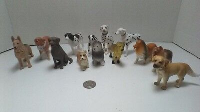 Dogs Of Mixed Breeds Plastic Figures 13 Total