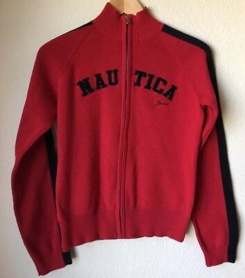 Nautica Jeans Co Youth Child Red Full Zip Knit Sweater Size L Large