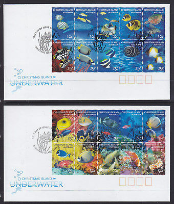 Fdc: 2004 Christmas Island Underwater Set Of 2 Covers