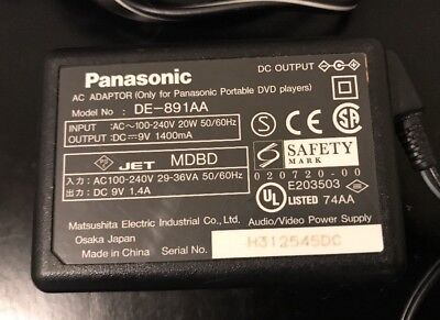 OEM (J157) Panasonic DE-891AA-1 AC ADAPTER! Great Used Condition! Tested!