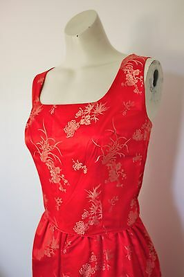 Womens Vintage 50s/60s Red/Gold Wiggle Cocktail Bombshell Evening Satin dress S