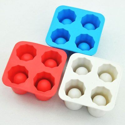 4 Cup Shot Shape DIY Ice Cube Mold Mould Ice Cream Chocolate Glass Tray Party