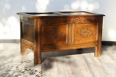Beautiful Antique 17th Century Two Panel Carved Oak Coffer / Chest