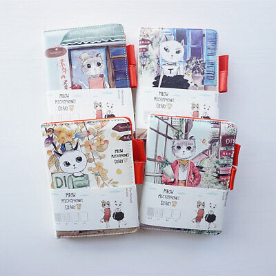 """Miss Meow"" 1pc Faux Leather Diary Cute Cat Study Journal Travel Notebook Memo"
