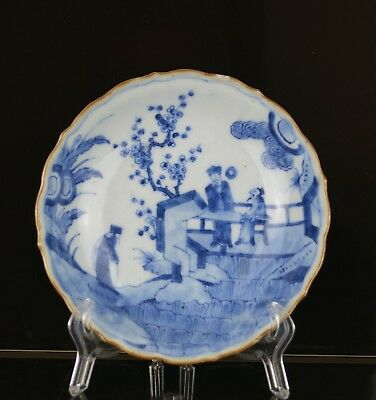 A Chinese Kangxi Period Blue & White Small Dish With Figures