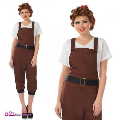 WW2 Land Girl Adult Ladies Fancy Dress Costume World War Two Dungarees Headband